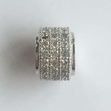 Micro Pave Metallzylinder, 9 x 6 mm