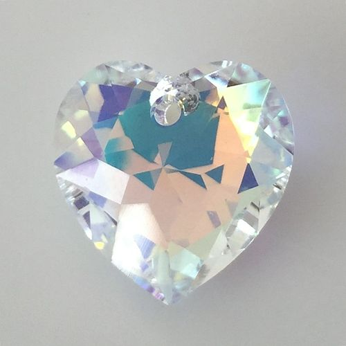 Swarovski Heart Cut Pendant, crystal AB, 14,5 mm